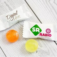Fruit candies in custom printed bags, free delivery, www.ontimeprint.co.uk