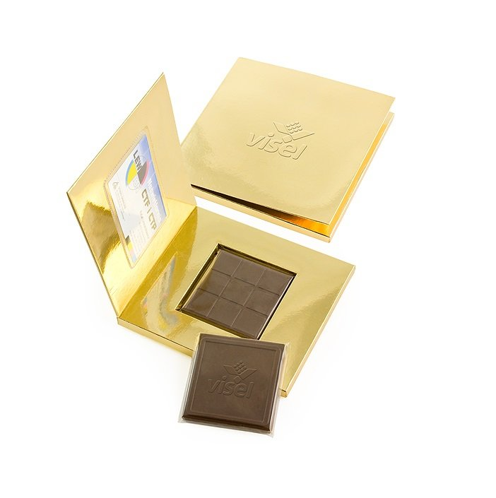 Business card holder with personalised belgian chocolate. www.ontimeprint.co.uk