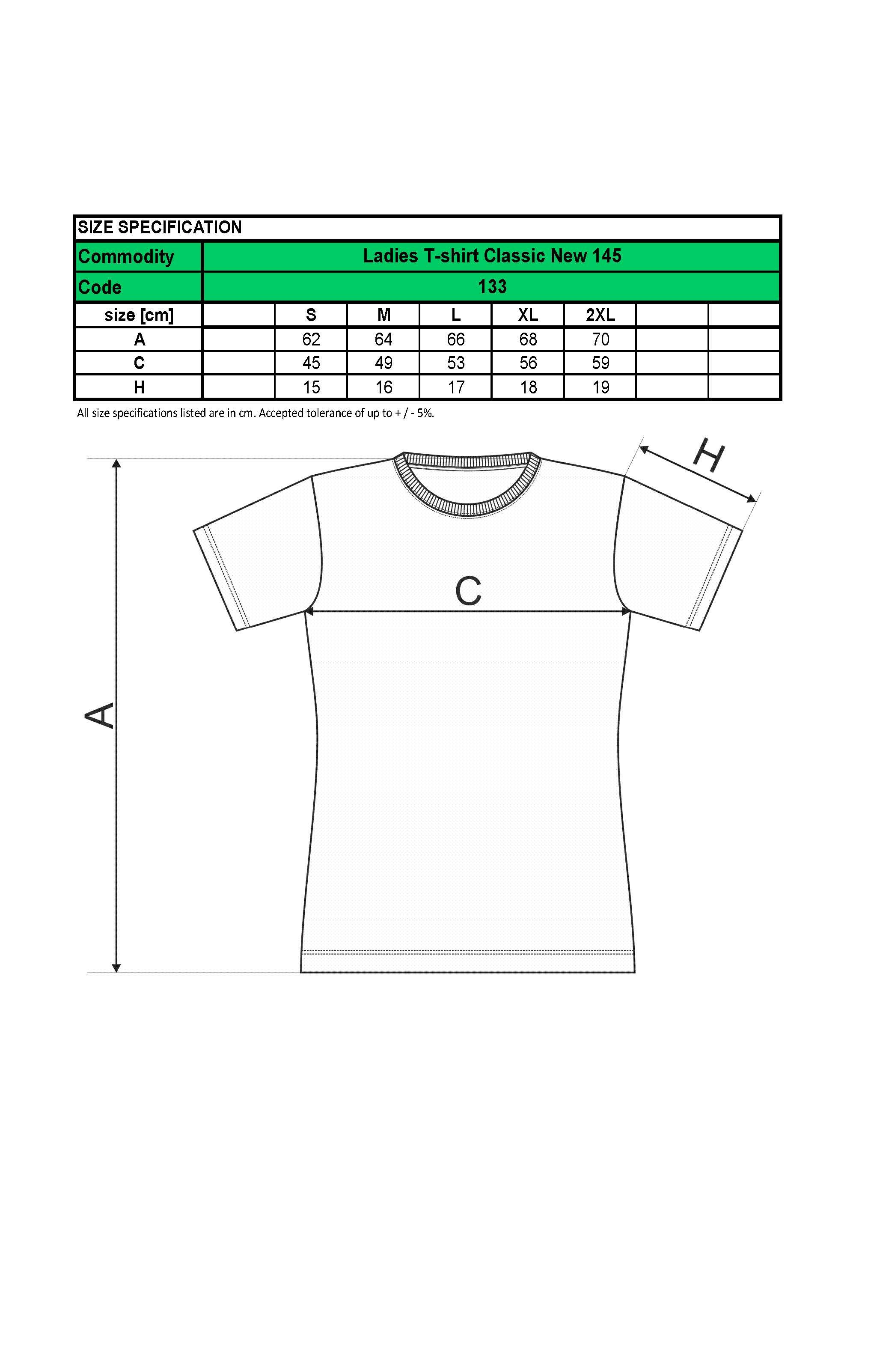 Custom Printed Embroidered Promotional white Ladies T-Shirts 133 size chart www.ontimeprint.co.uk