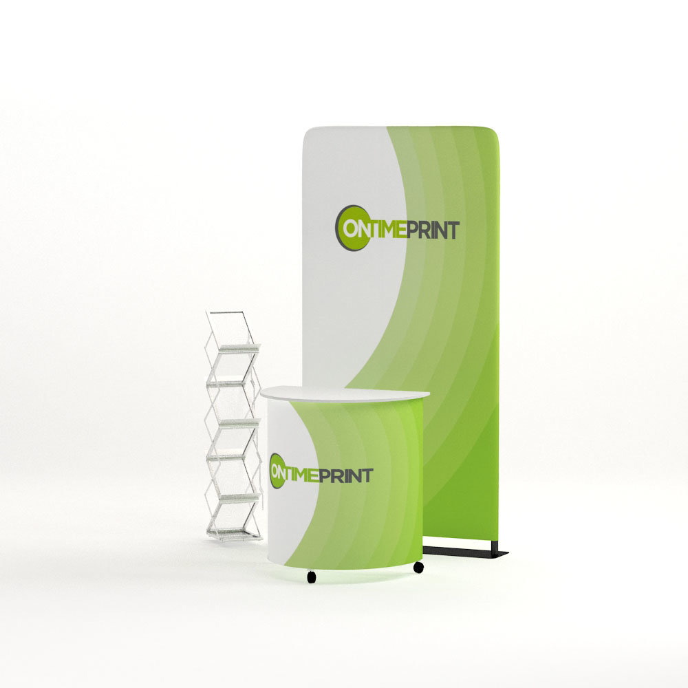 Exhibition Display Kit- Tower Fabric Display & Classic Counter & Zig Zag Brochure Stand- www.ontimeprint.co.uk