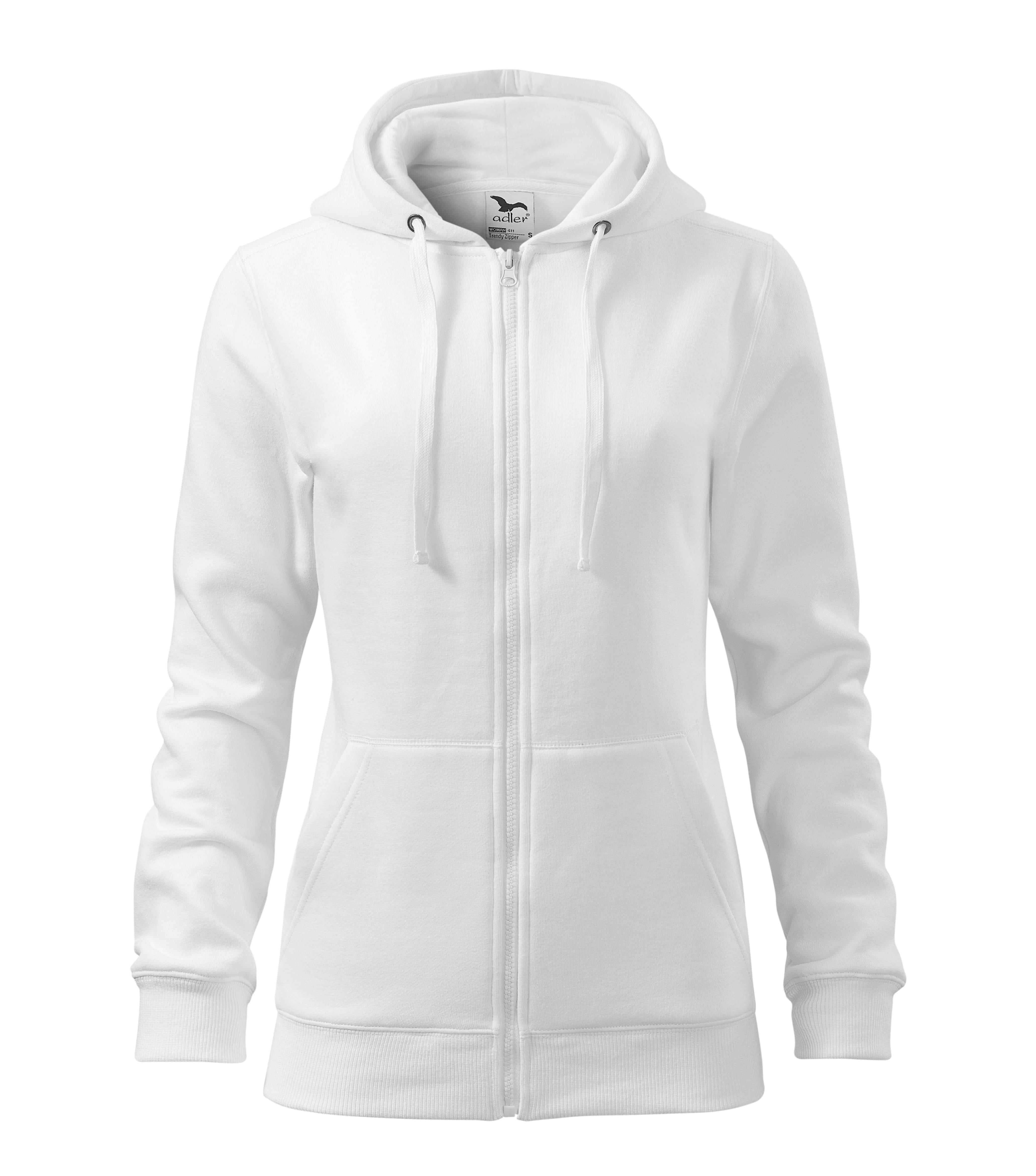 Custom Printed/ Embroidered Women Zipped Sweatshirt Hoodies, white, www.ontimeprint.co.uk