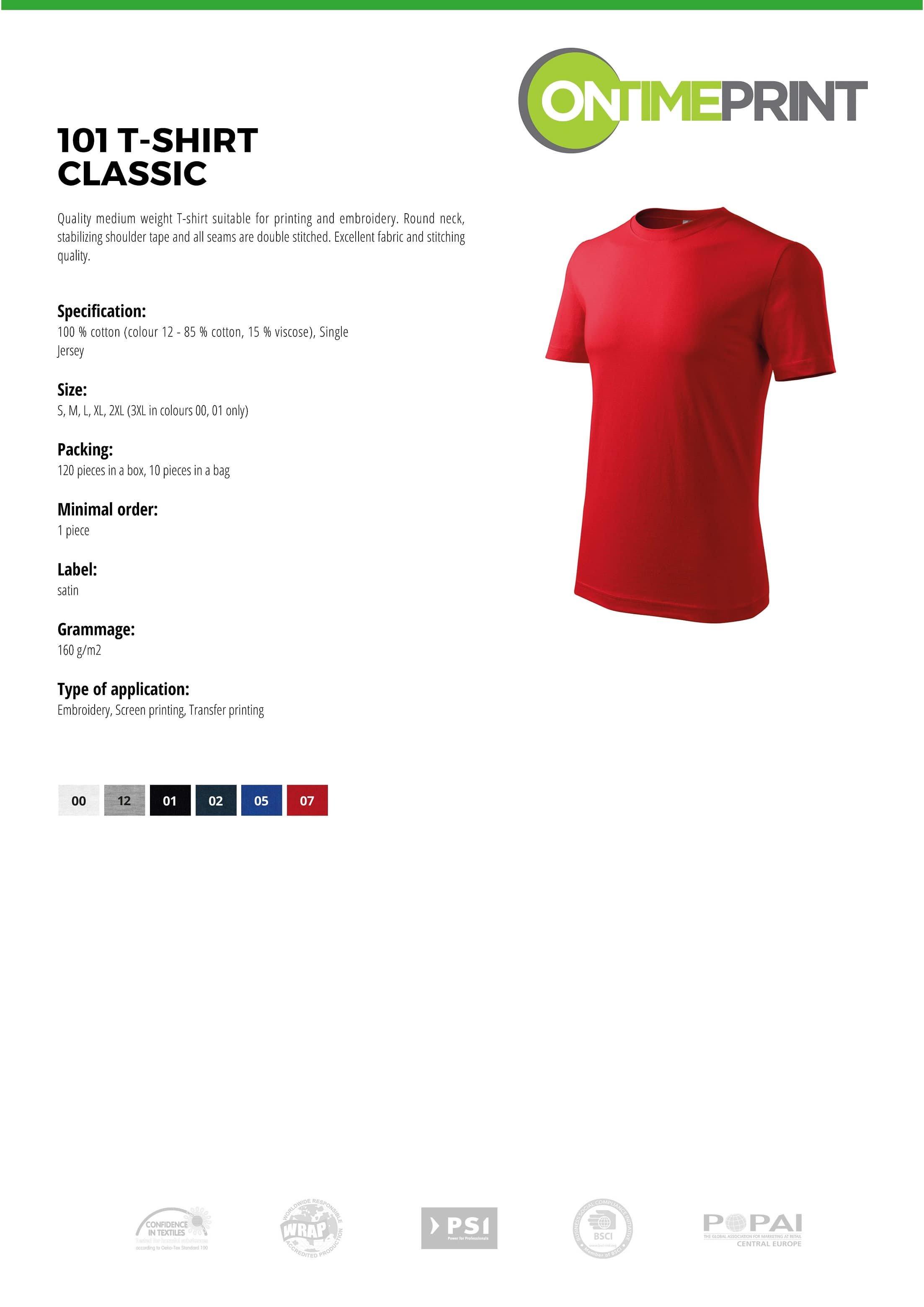 Custom Printed UK Promotional white Men T Shirt 101 specification www.ontimeprint.co.uk