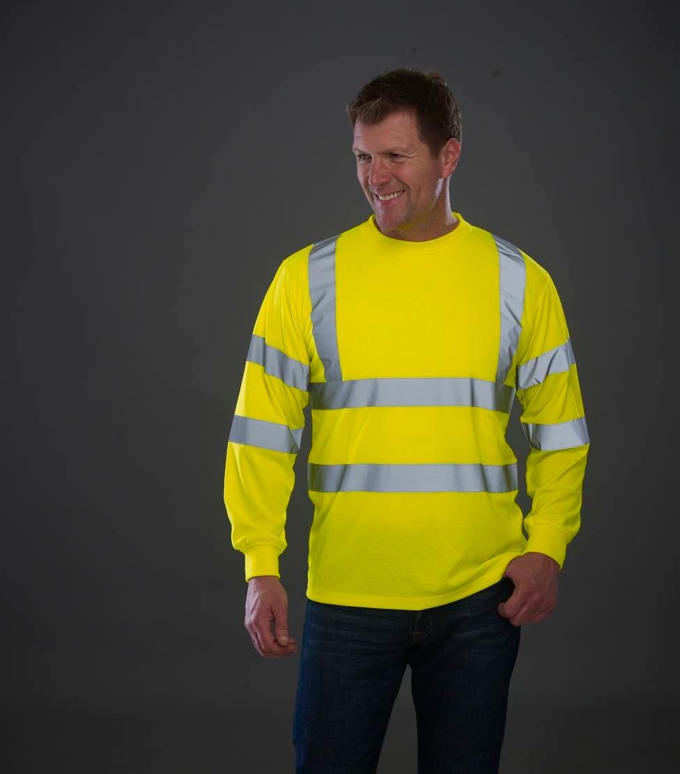Printed hi vis long sleeve t-shirt HVJ420, yellow, www.ontimeprint.co.uk