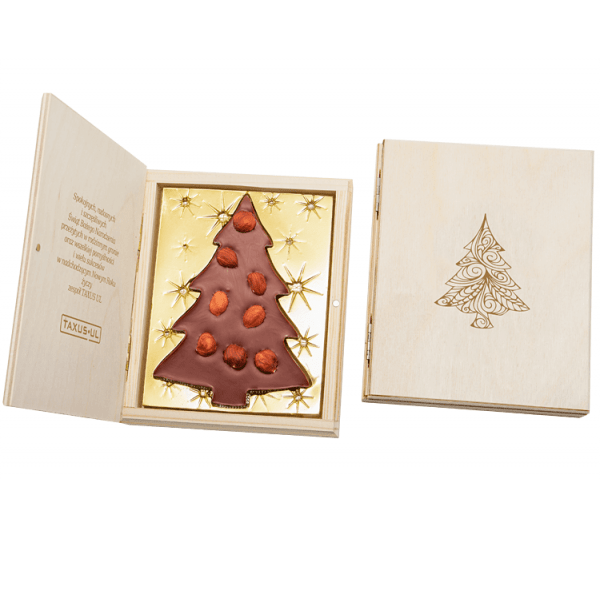 Chocolate Christmas Tree with Hazelnuts in Wood (wooden greeting card), www.ontimeprint.co.uk