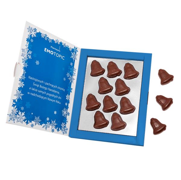 Custom Printed Sweet Christmas card- 10 Chocolate Bells in box. www.ontimeprint.co.uk