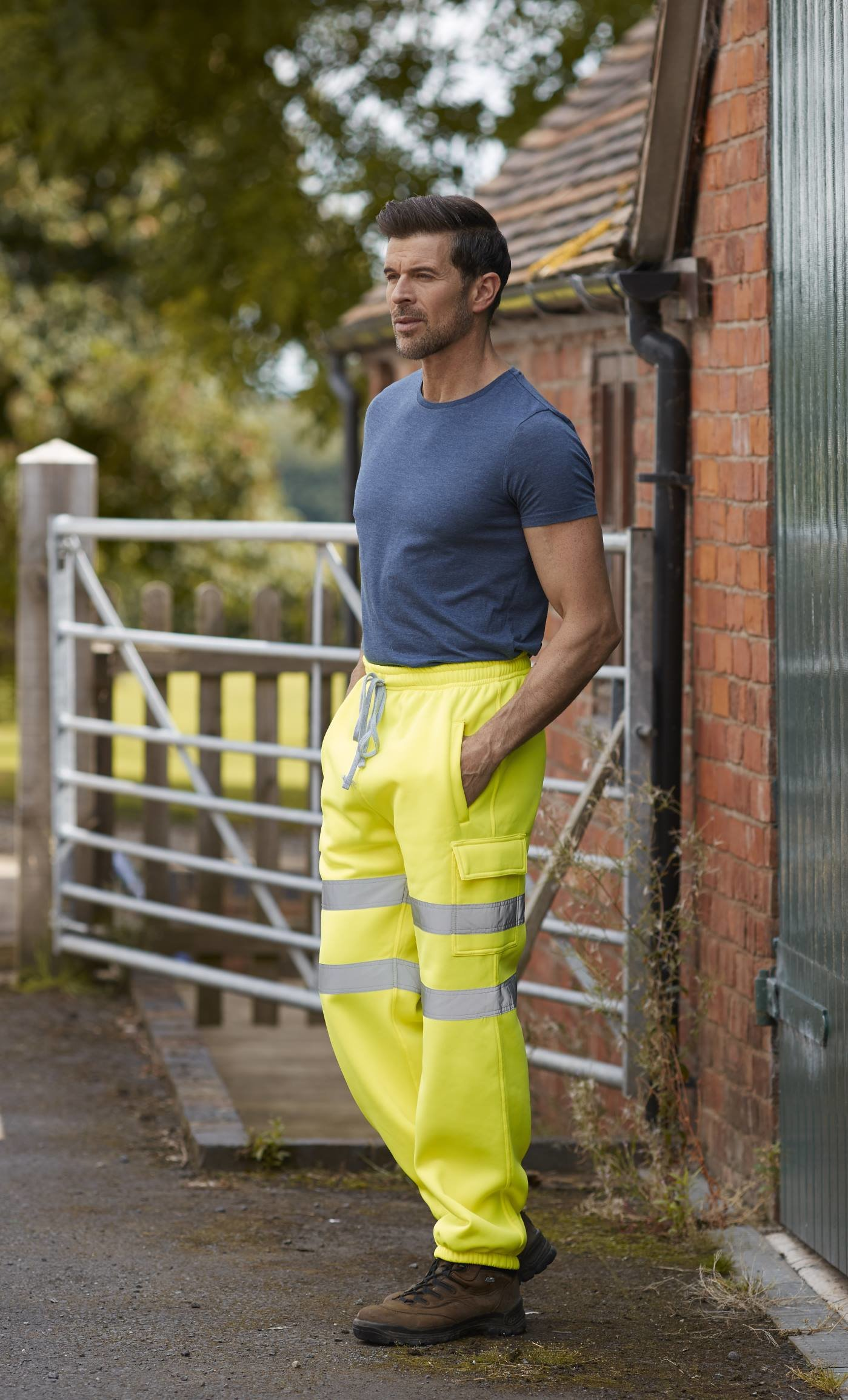 Embroidered Hi Vis Jogginf Pants, yellow, www.ontimeprint.co.uk