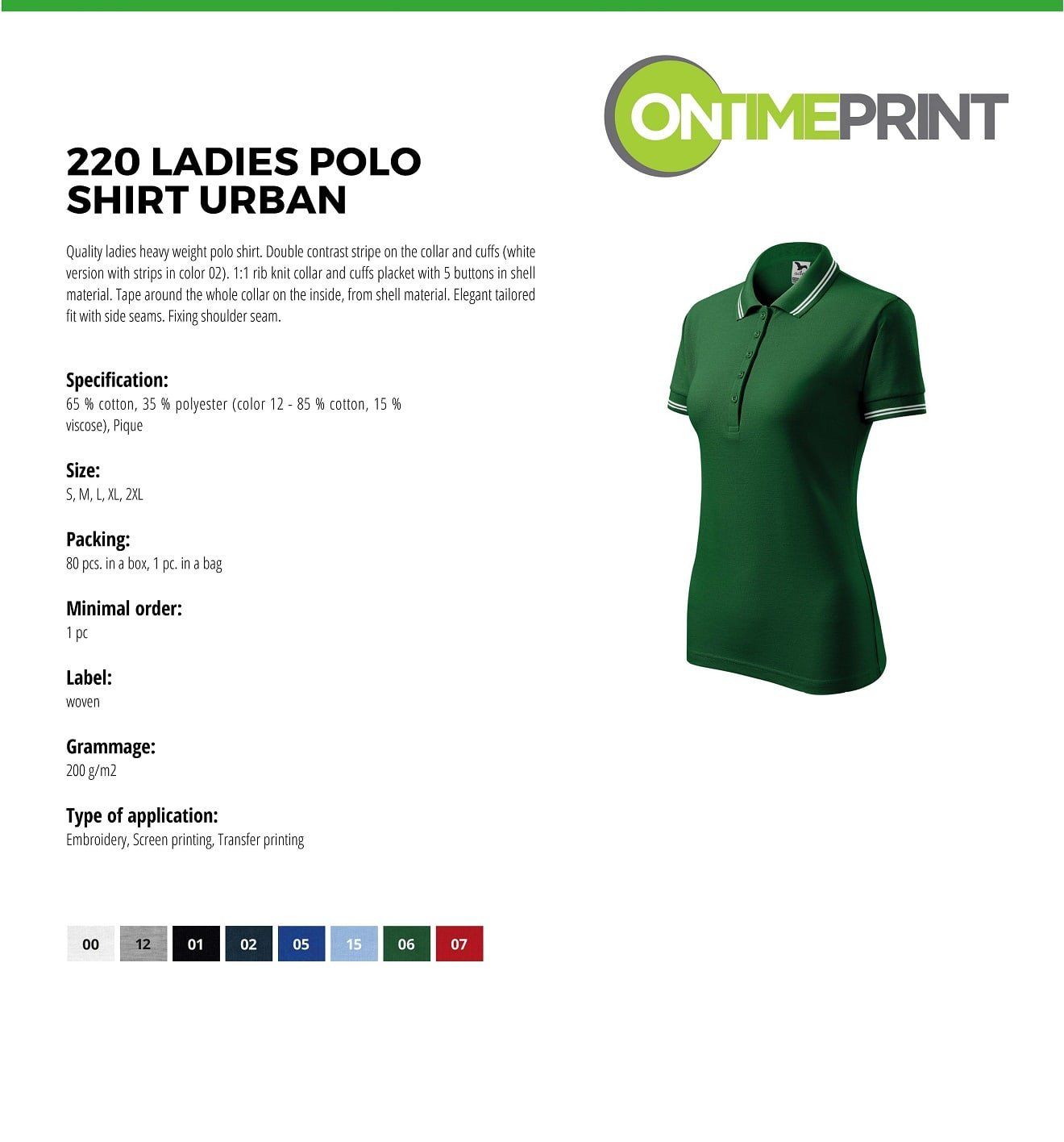 Custom Embroidered Promotional white Ladies Polo Shirts 220 specification www.ontimeprint.co.uk