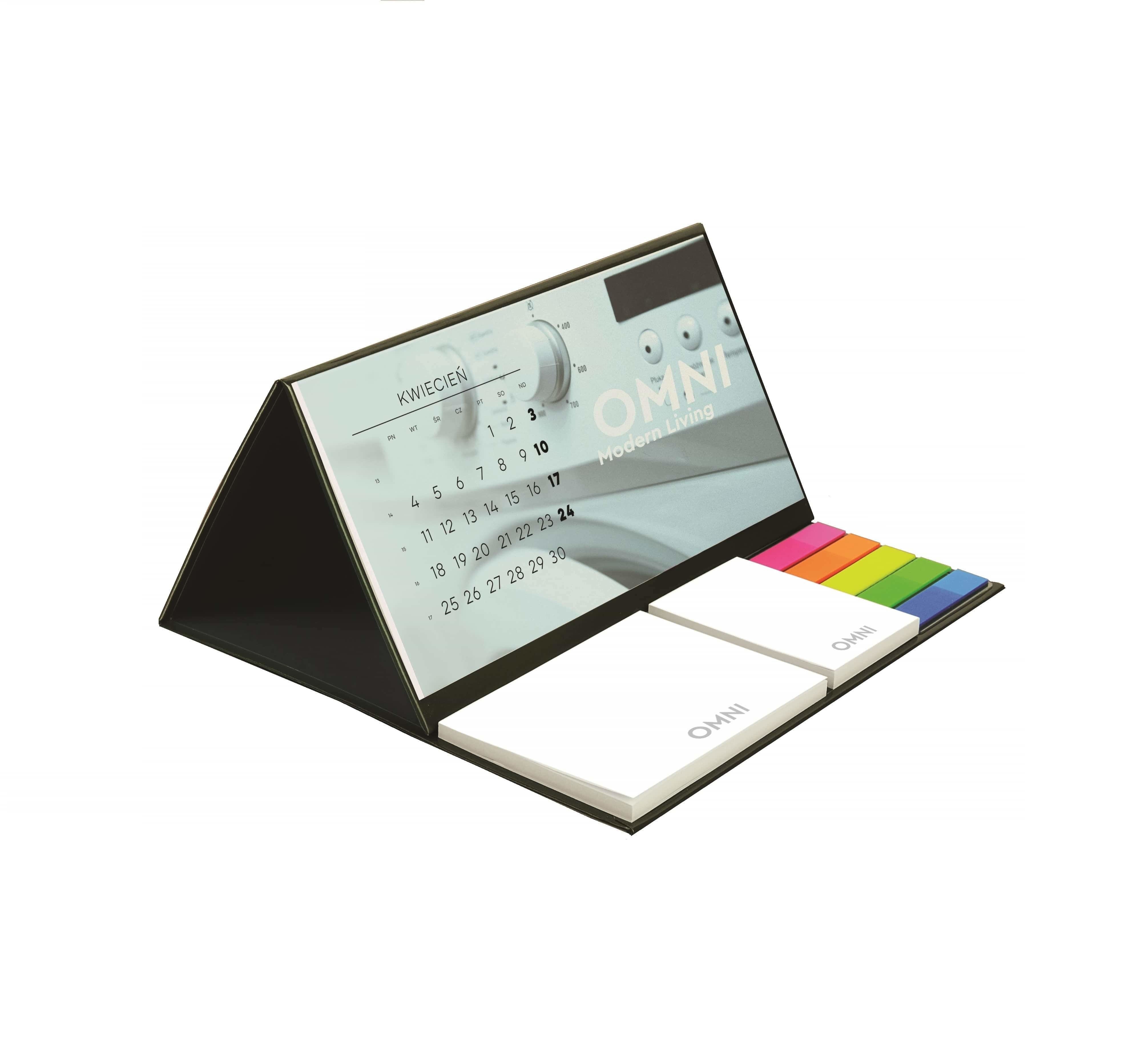 Full colour printed desk calendar 2019 with notepads and index markers, www.ontimeprint.co.uk