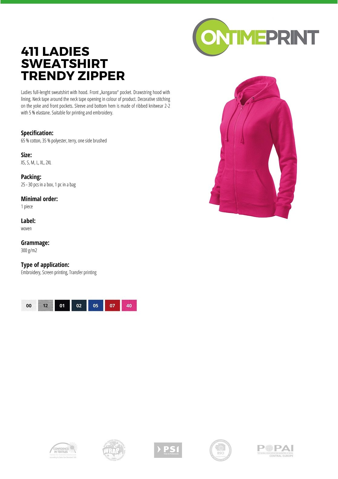 Ladies Zipped Sweatshirt Trendy 411