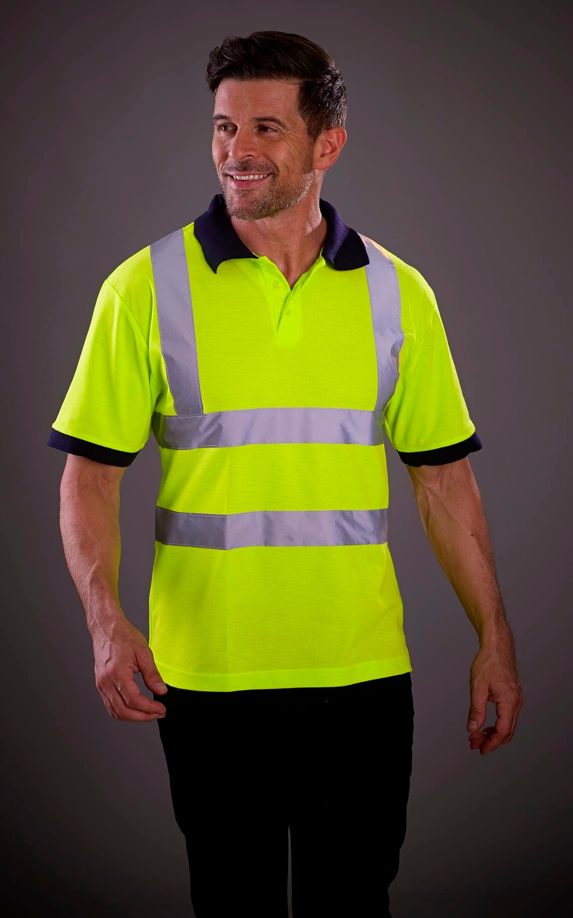Custom Printed Hi-Vis Short Sleeve Polo Shirt (HVJ210), yellow, www.ontimeprint.co.uk