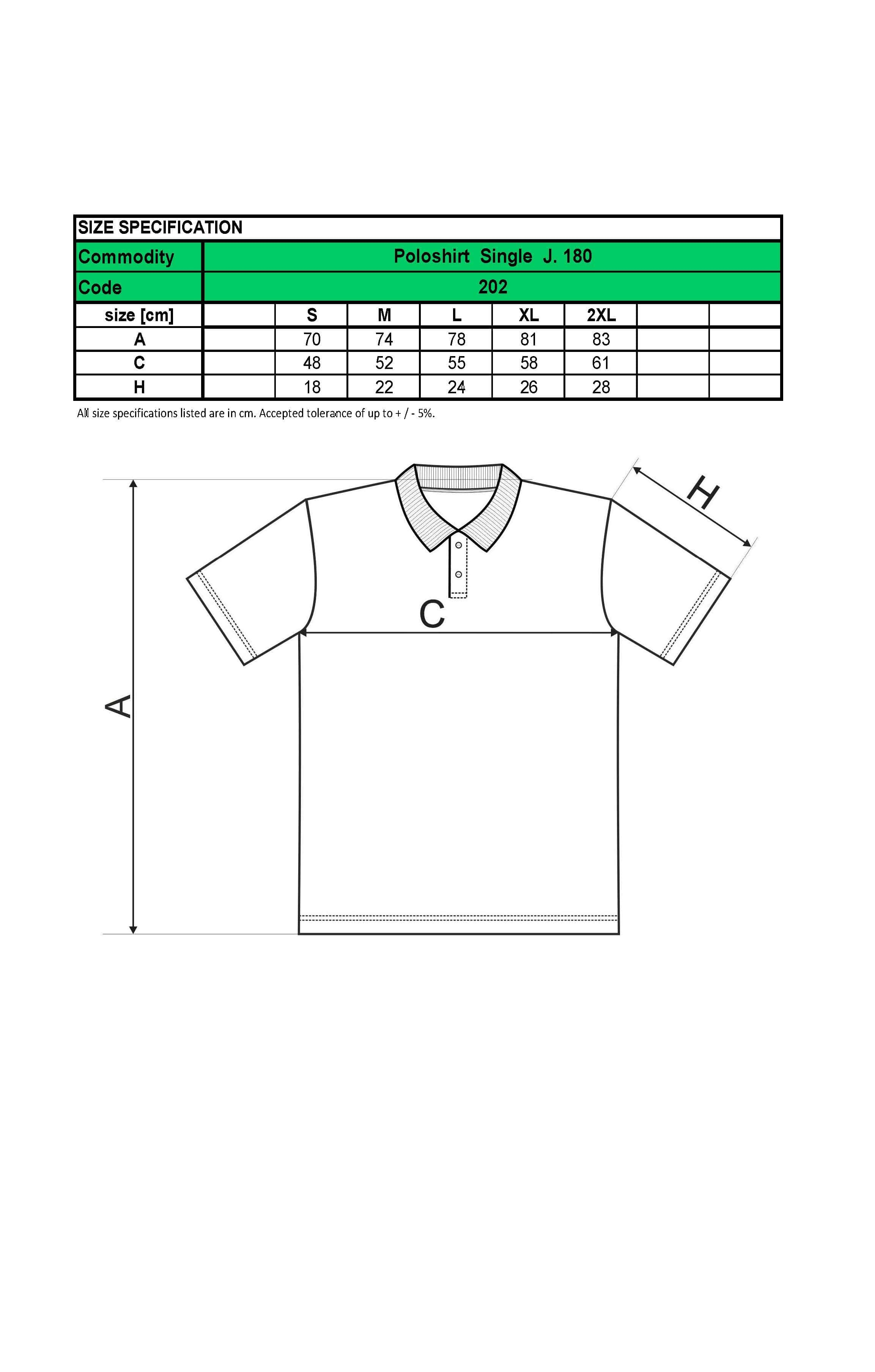 Custom Printed Promotional White Polo Shirts 202 size guide- www.ontimeprint.co.uk