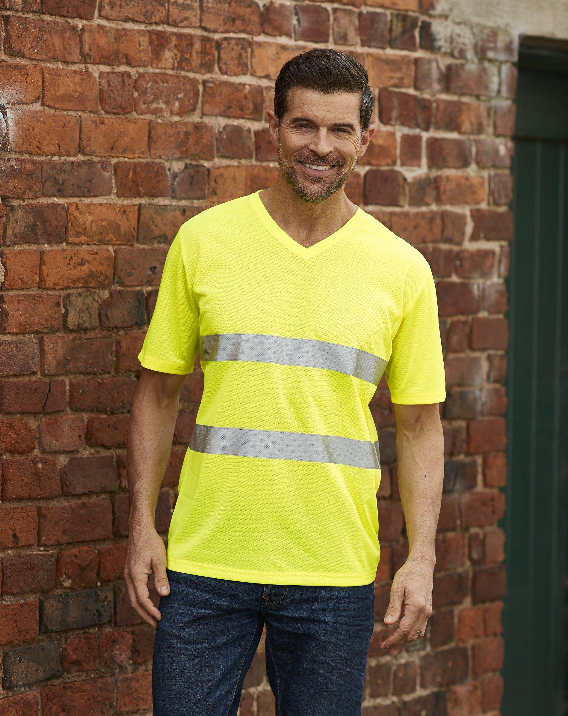 Custom Printed HI-VIS V-neck t-shirt, yellow, www.ontimeprint.co.uk
