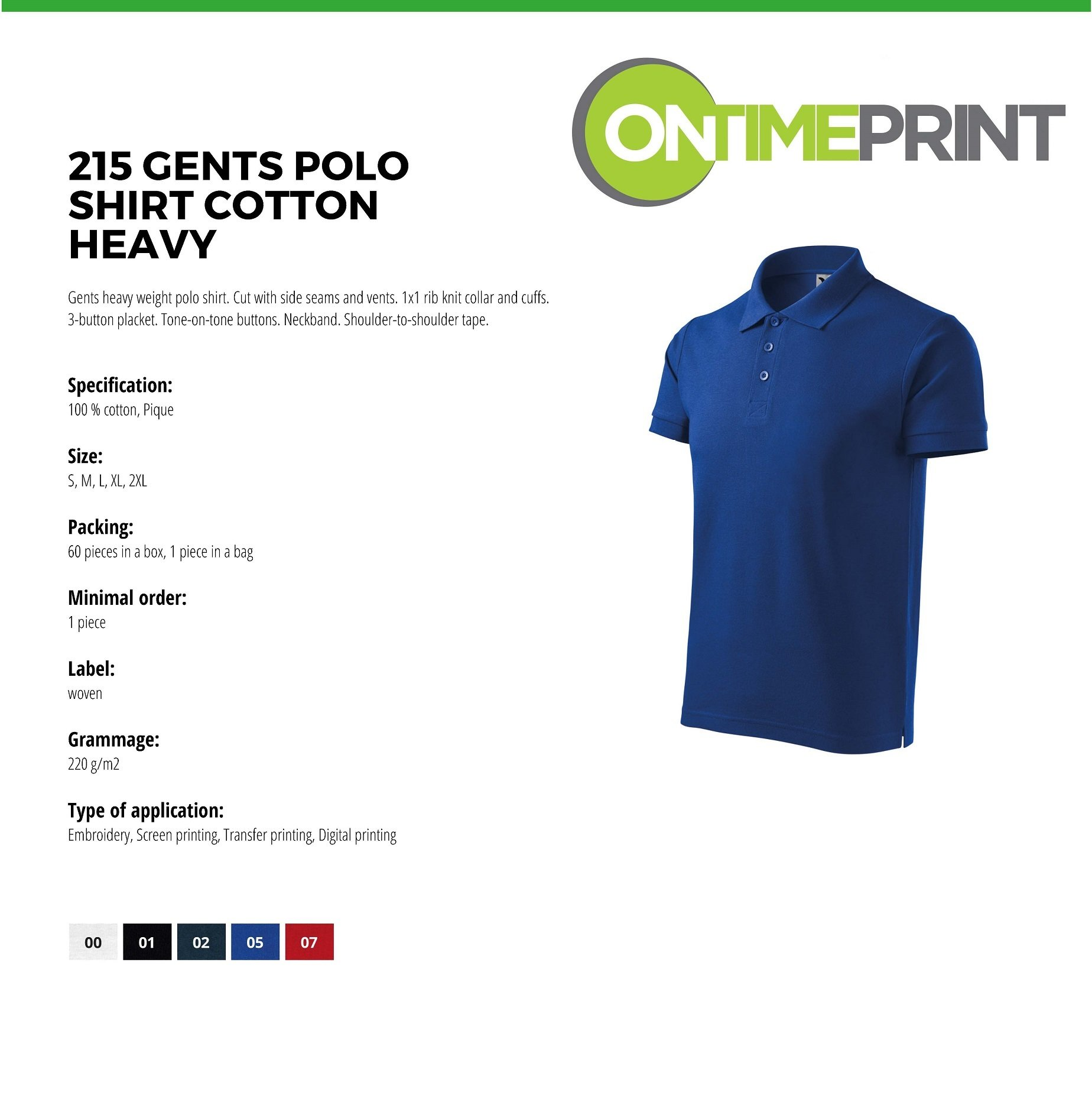 Custom Printed Promotional White Polo Shirts 215 specification- www.ontimeprint.co.uk