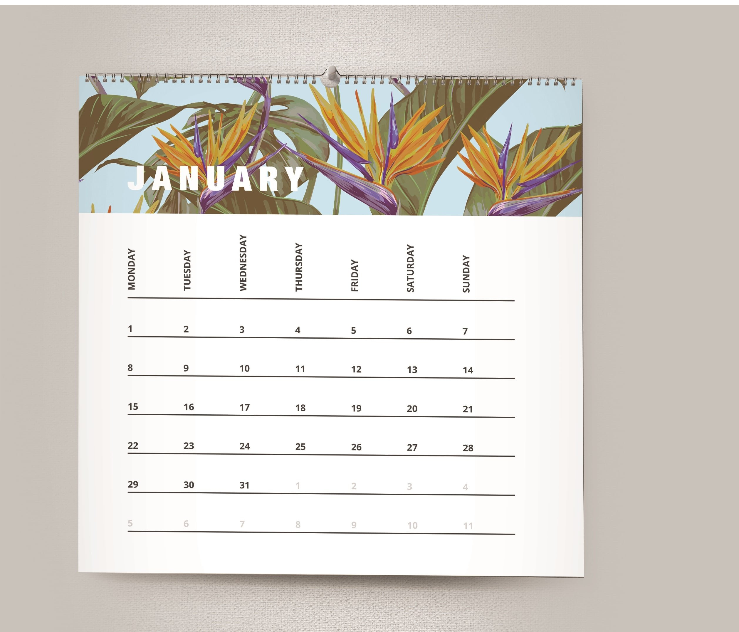 Personalised Spiral Bound Wall Calendar www.ontimeprint.com