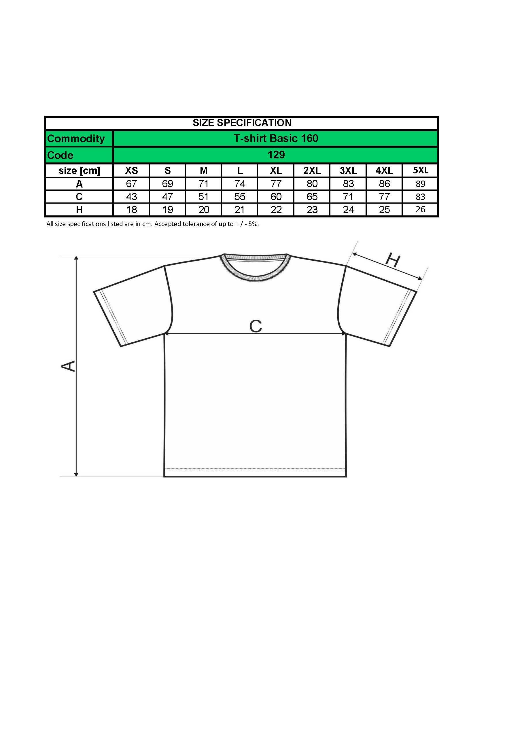 Custom Printed UK Promotional white Men T Shirt 129 size chart www.ontimeprint.co.uk