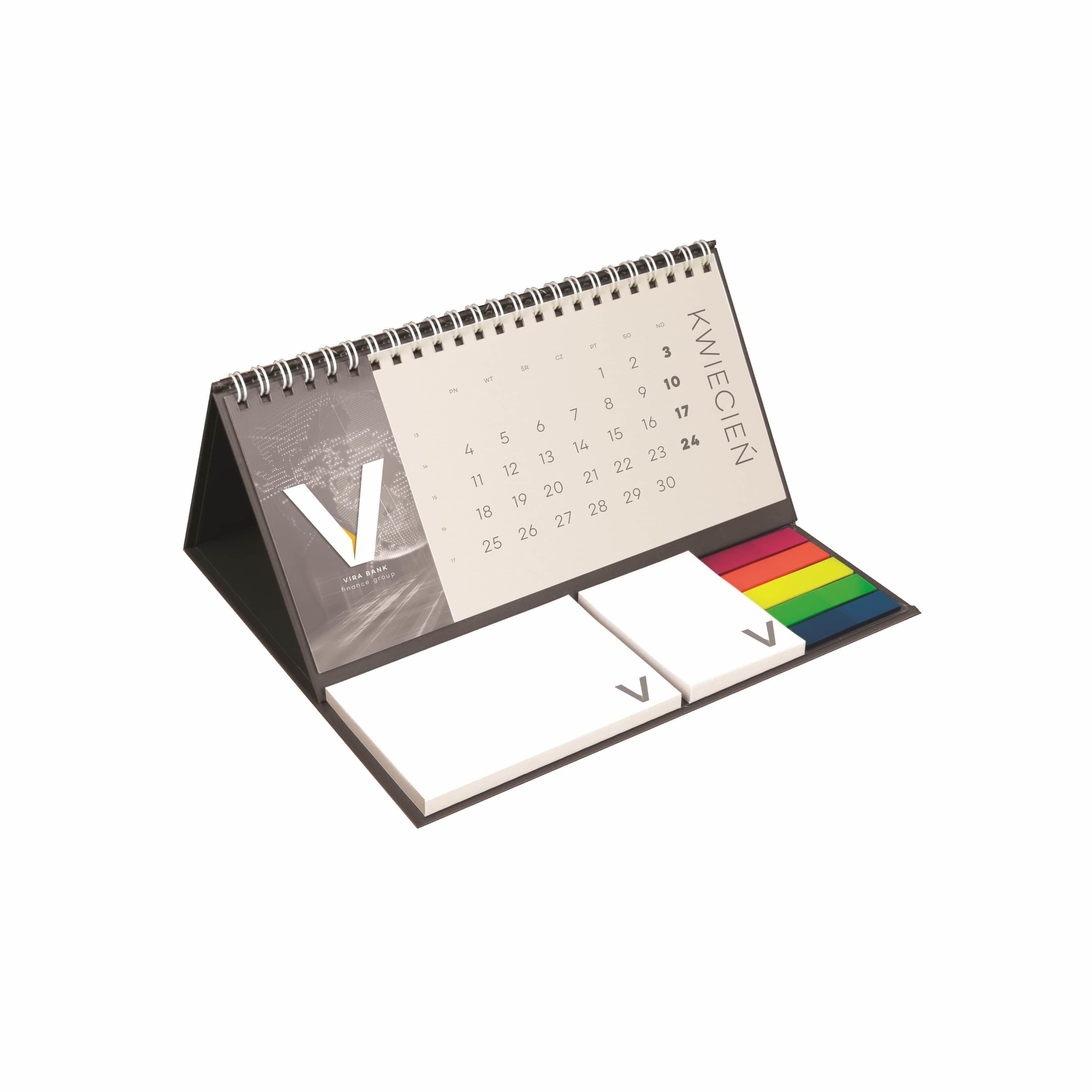 Custom printed wire-o desk calendar 2019 with notepads and index markers, www.ontimeprint.co.uk