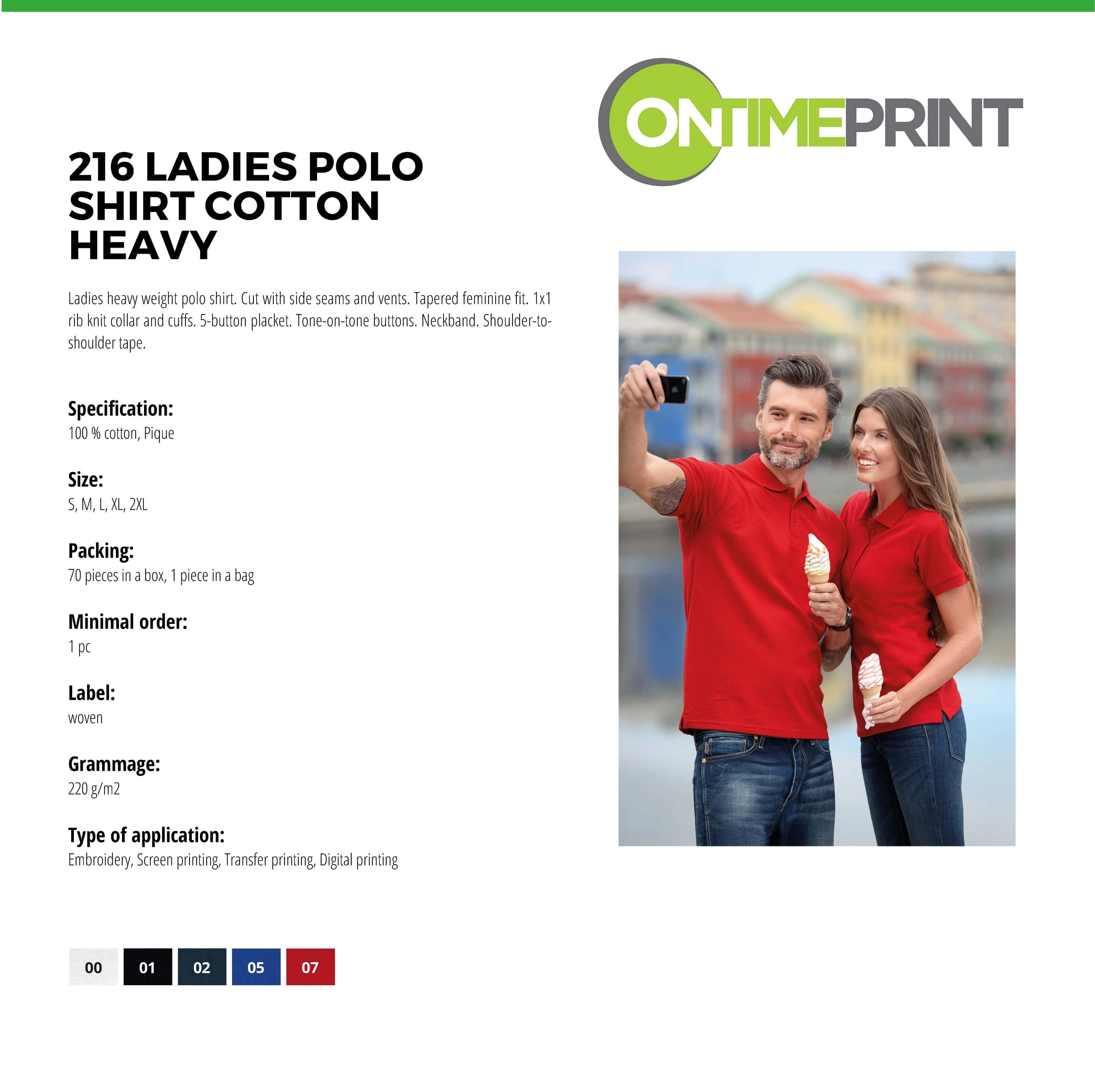 Custom Printed Promotional White Polo Shirts 216 specification- www.ontimeprint.co.uk