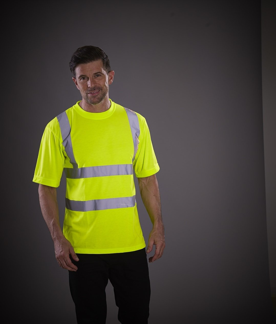 Personalised yellow Hi-Vis t-shirt with logo, www.ontimeprint.co.uk