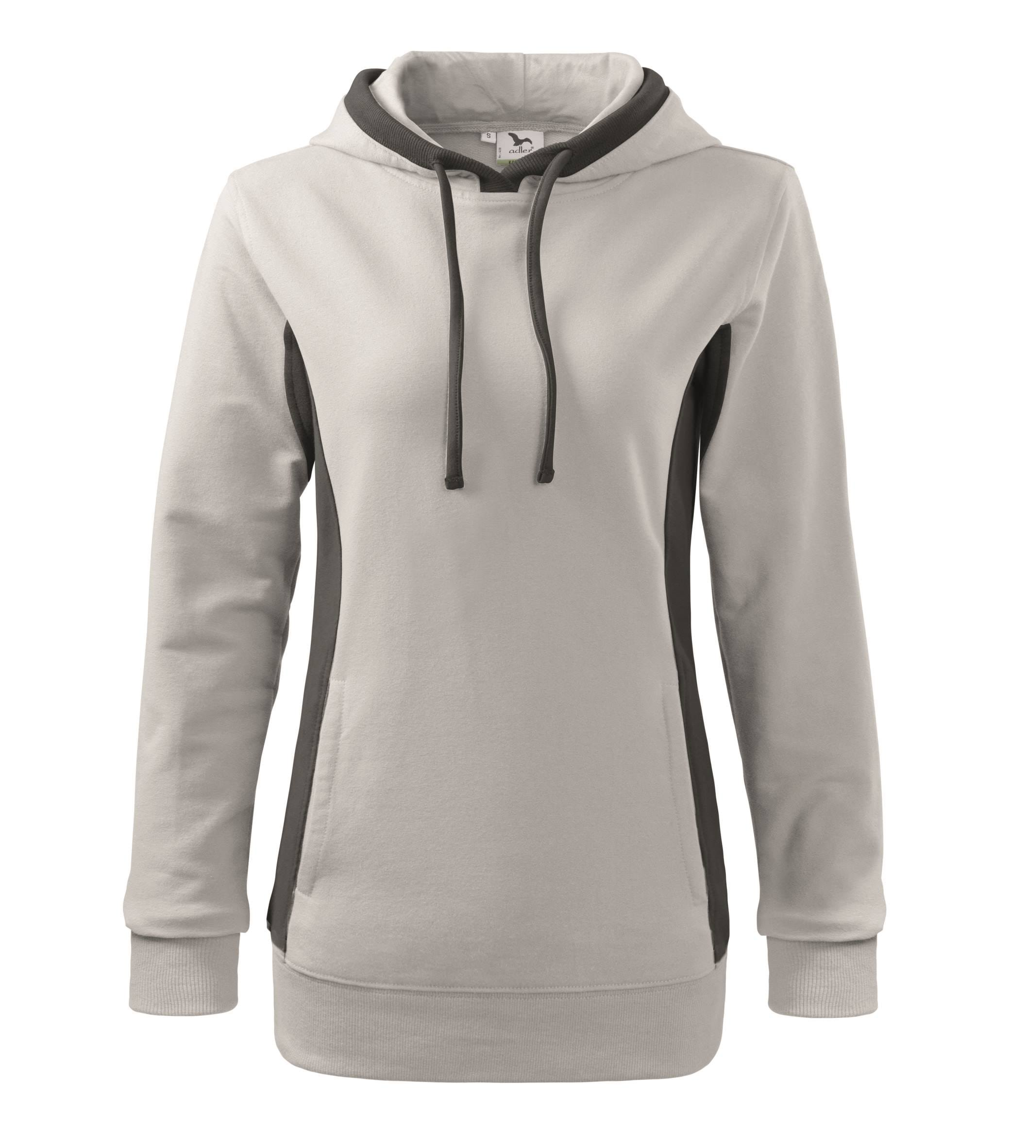 Custom embroidered printed women hooded sweatshirt, white/ black, www.ontimeprint.co.uk