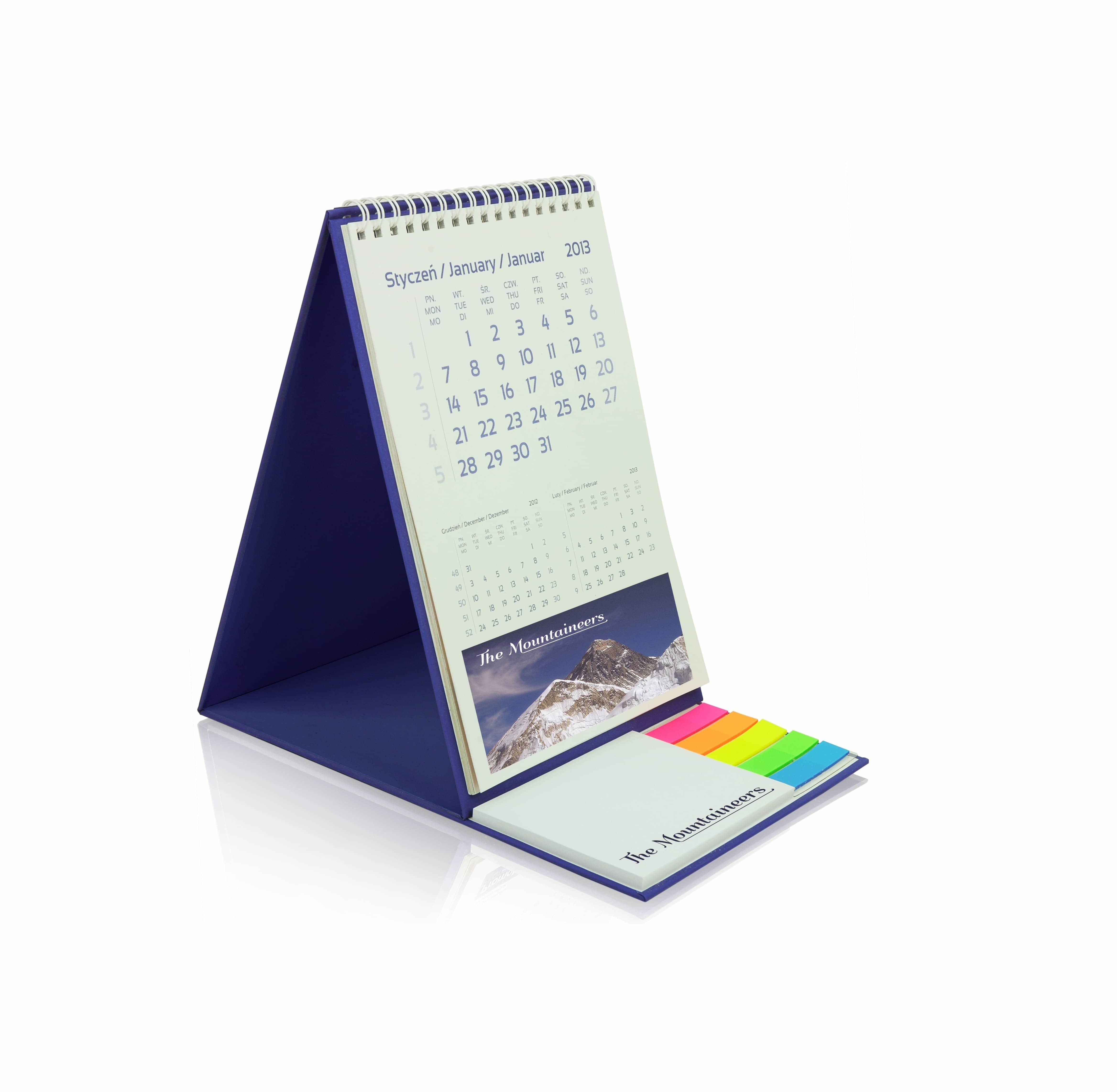 Custom printed desk calendar 2019 with notepads and index markers, www.ontimeprint.co.uk