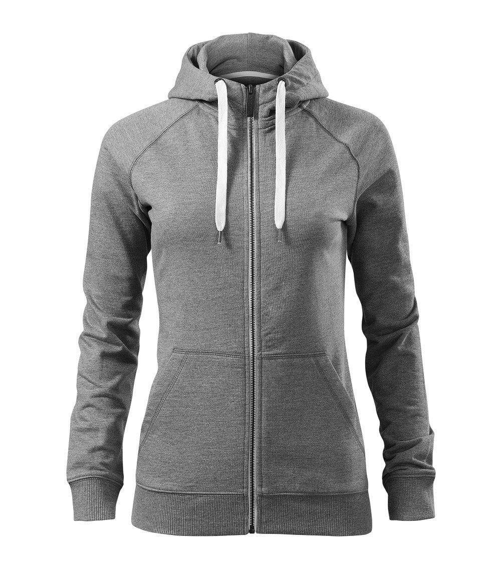 Custom Printed/ Embroidered Women Full Zip Sweatshirt Hoodie, grey, www.ontimeprint.co.uk
