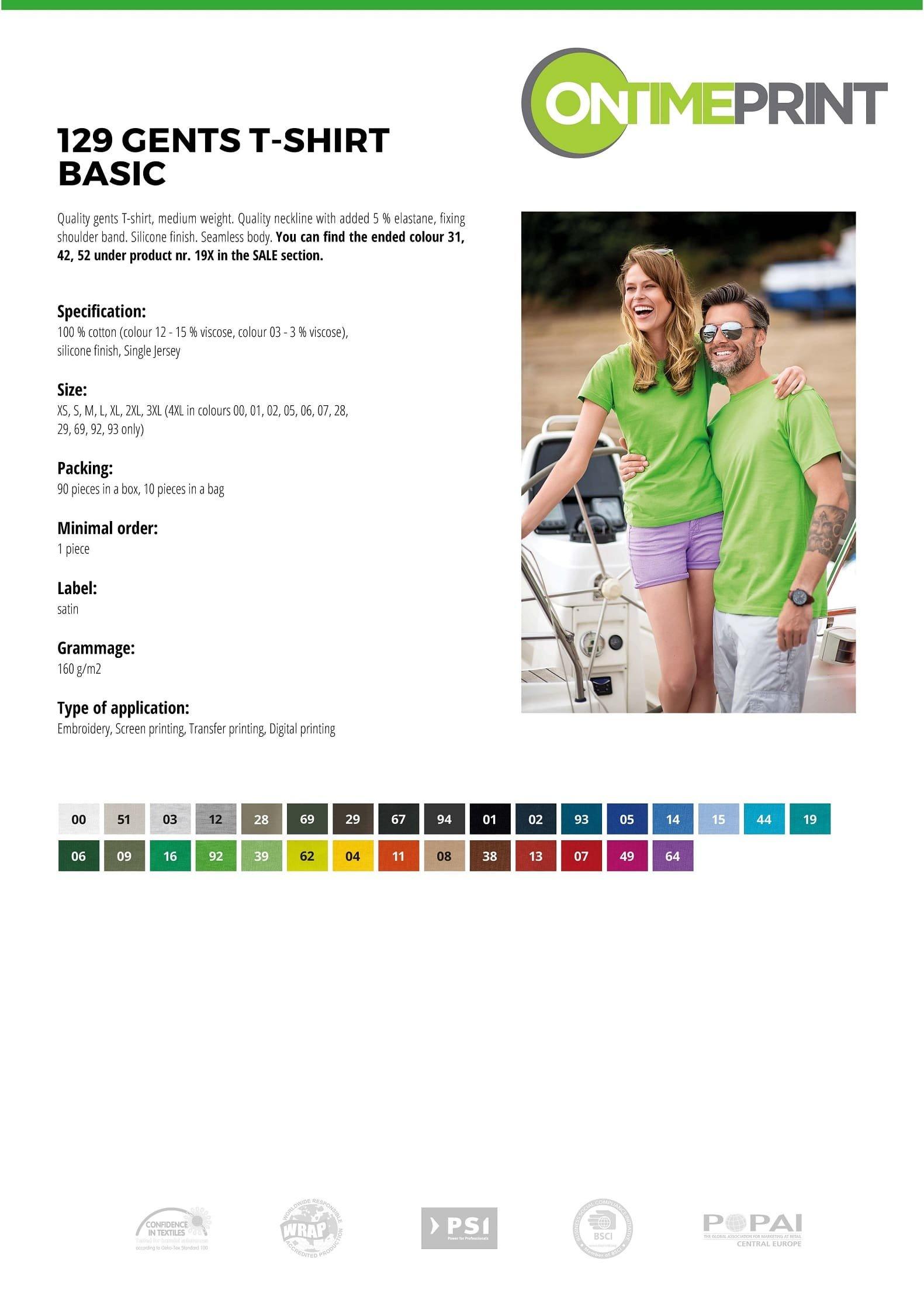 Custom Printed UK Promotional white Men T Shirt 129 specification www.ontimeprint.co.uk