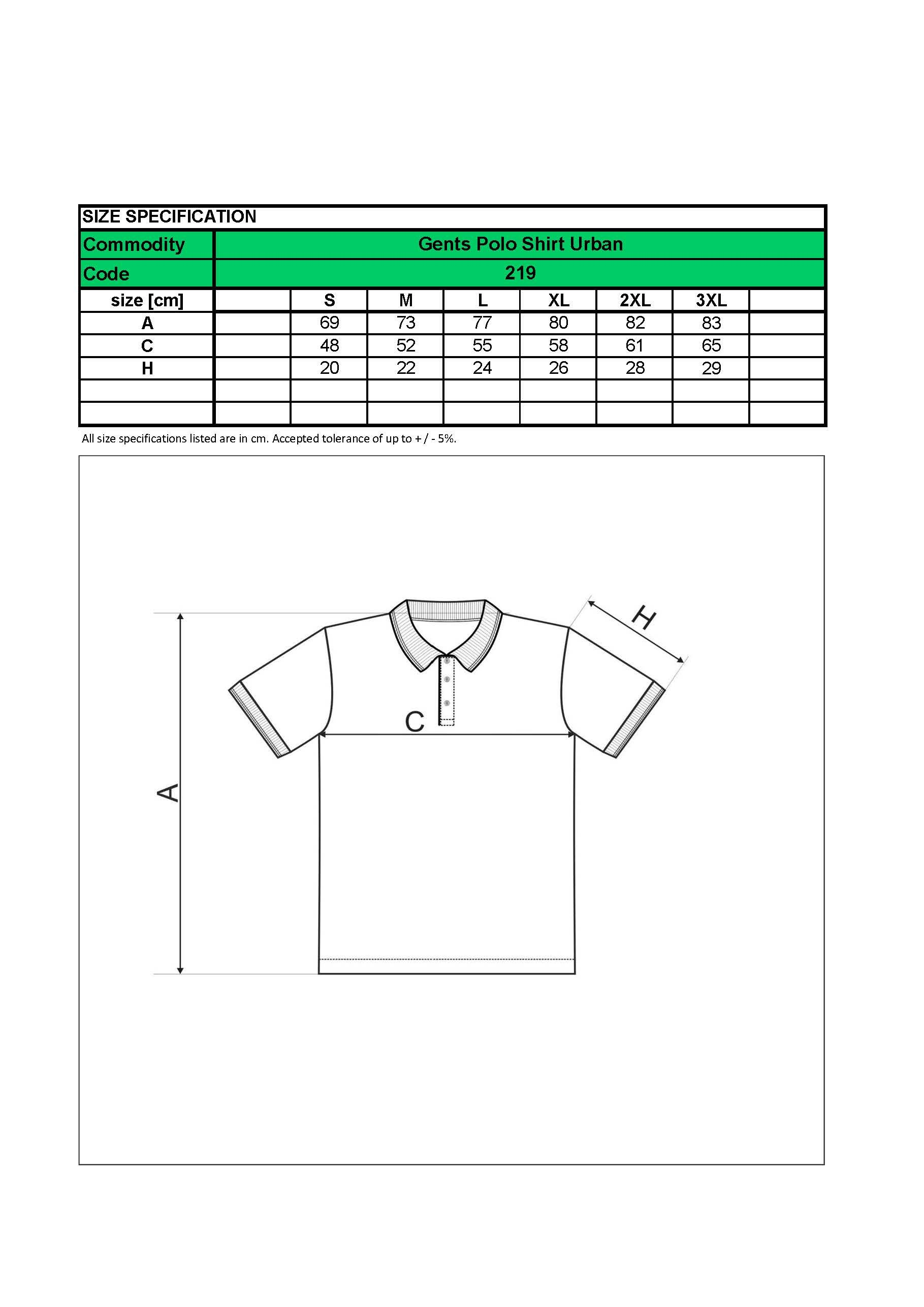Custom Embroidered Promotional white  Men Polo Shirts 219 size chart- www.ontimeprint.co.uk