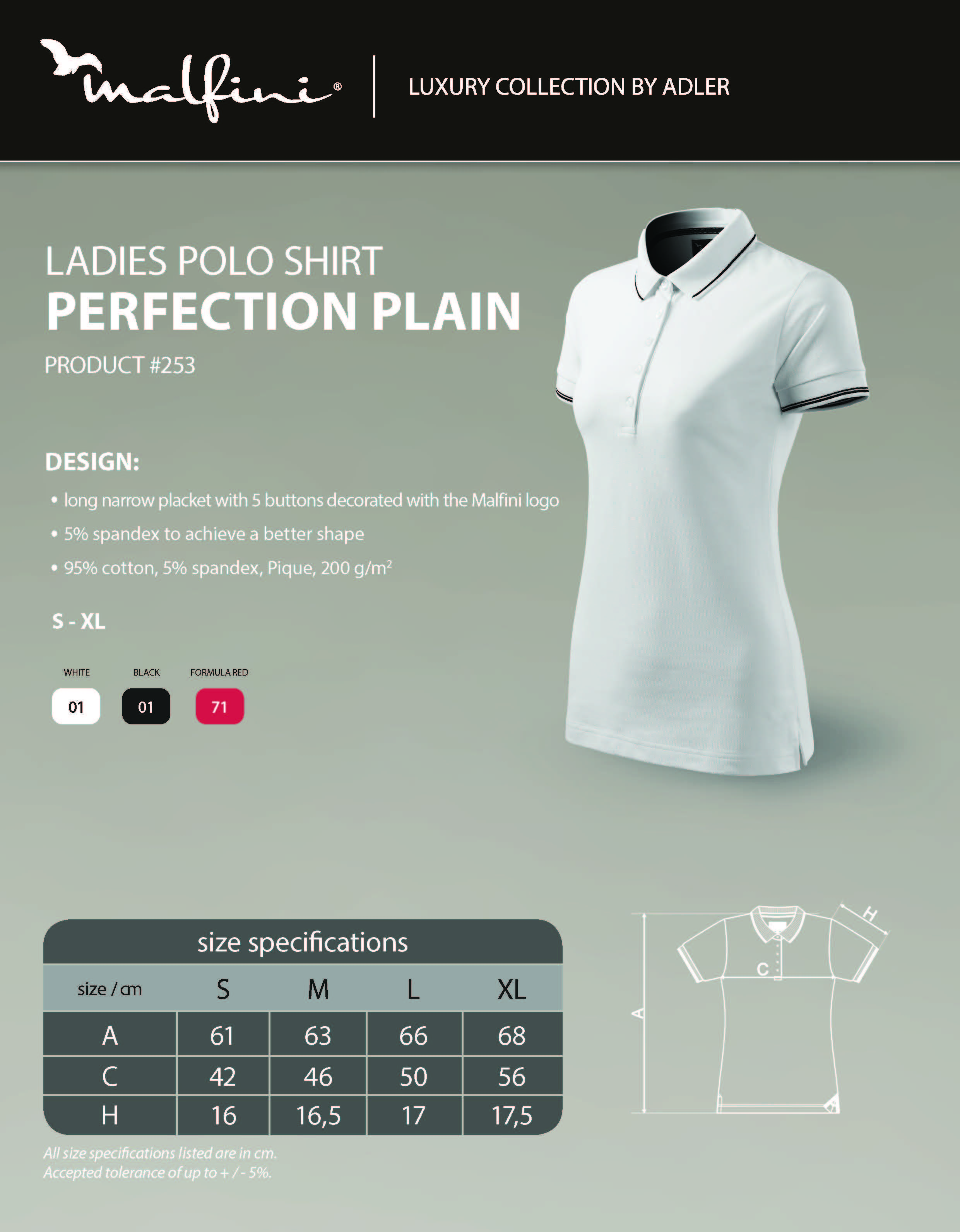 Custom Printed Promotional White Polo Shirts 253 size guide- www.ontimeprint.co.uk