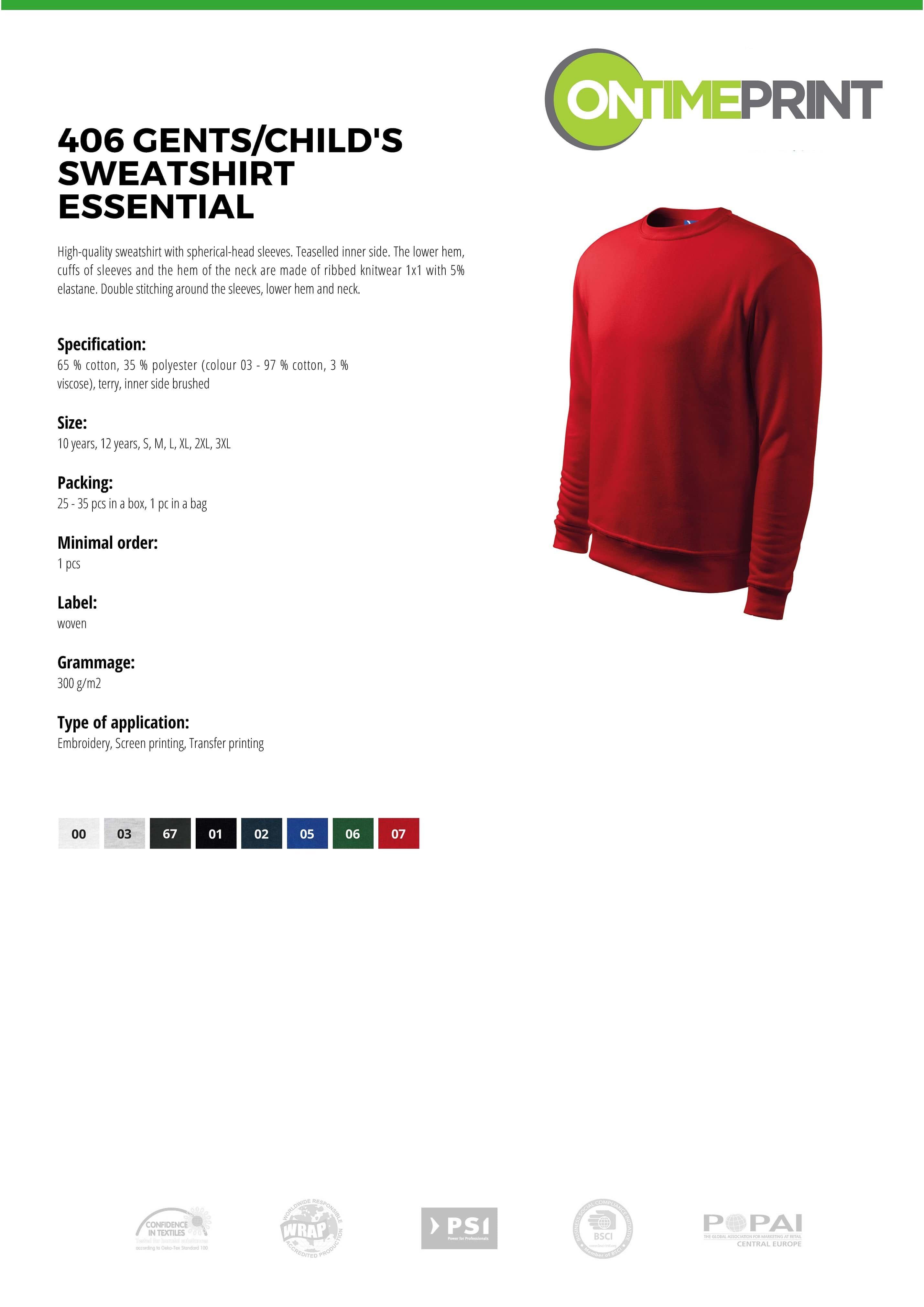 Gents Sweatshirt Essential 406