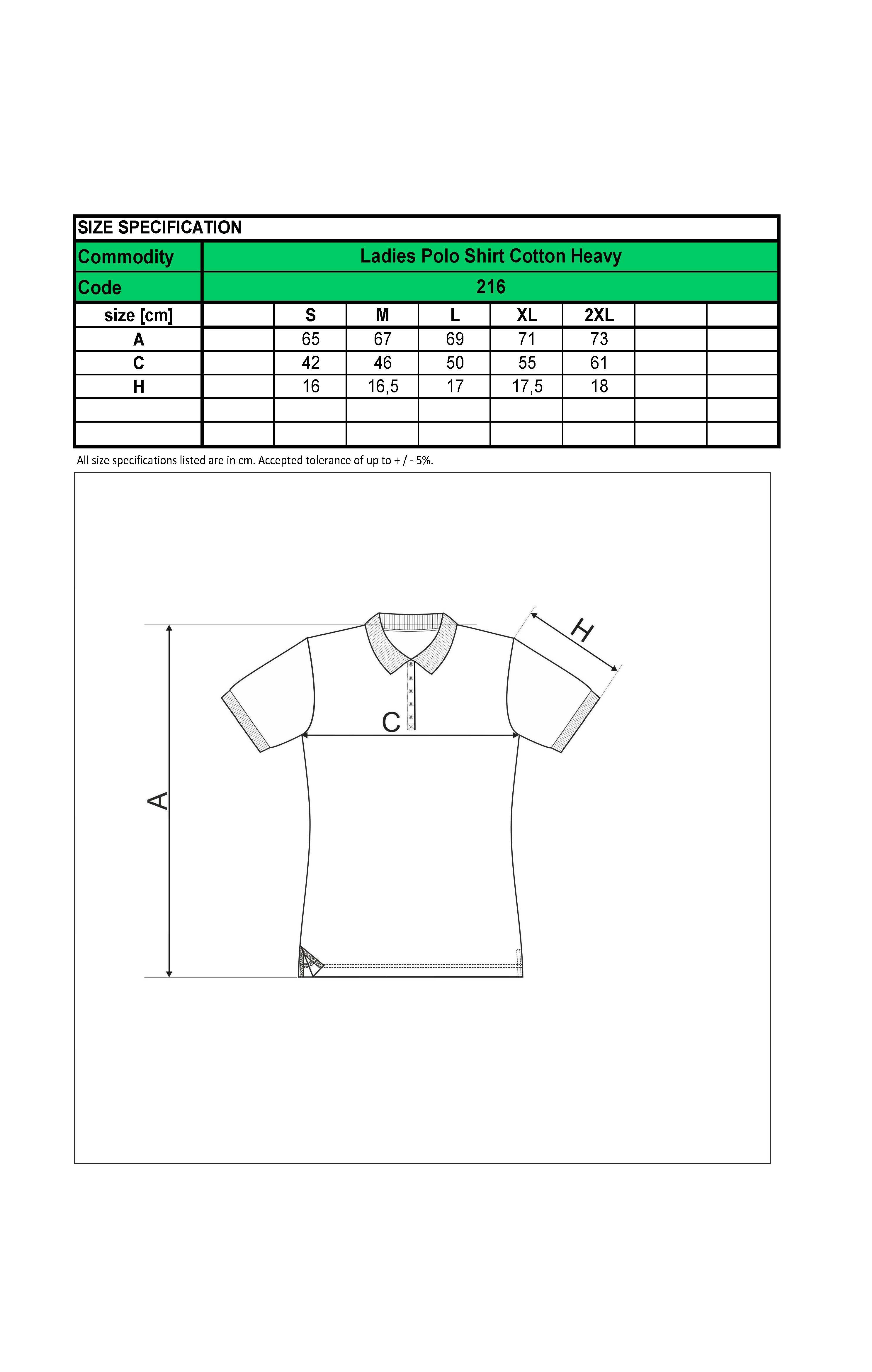 Custom Printed Promotional White Polo Shirts 216 size guide- www.ontimeprint.co.uk