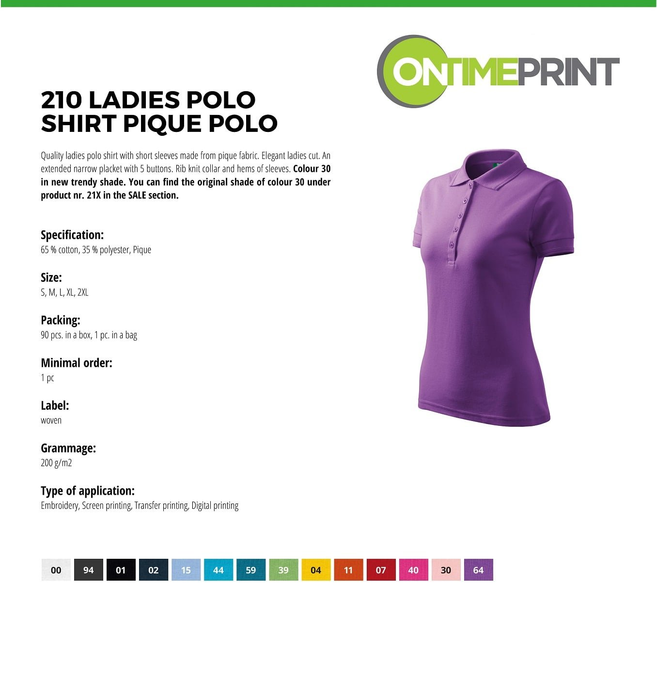 Custom Printed Promotional White Polo Shirts 210 specification- www.ontimeprint.co.uk