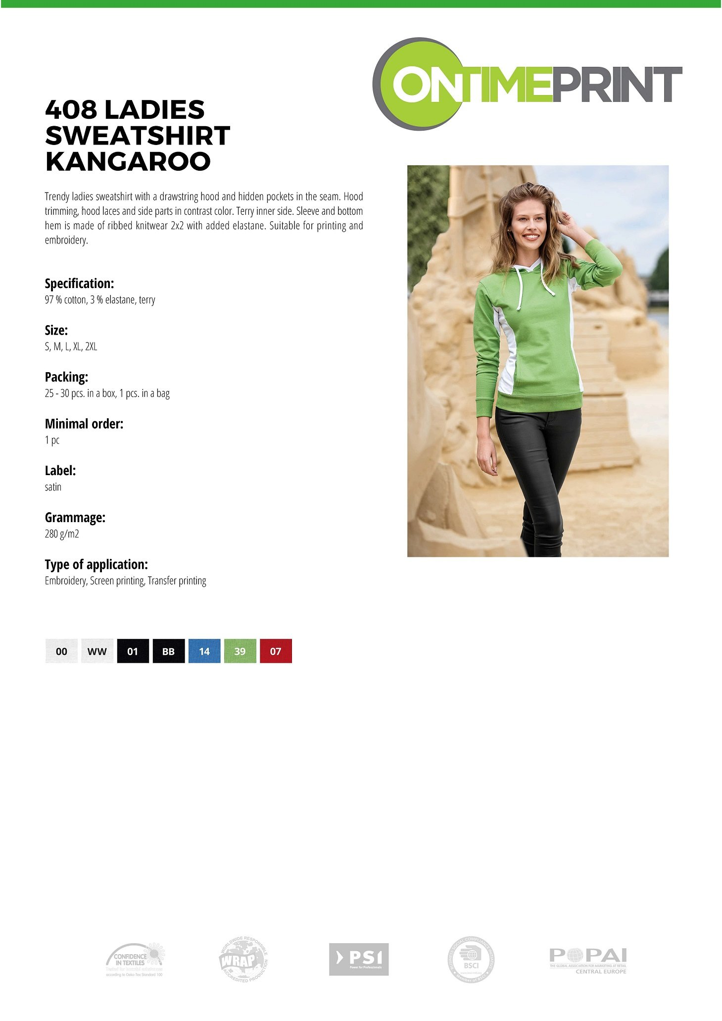 Ladies Hooded Sweatshirt Kangaroo 408