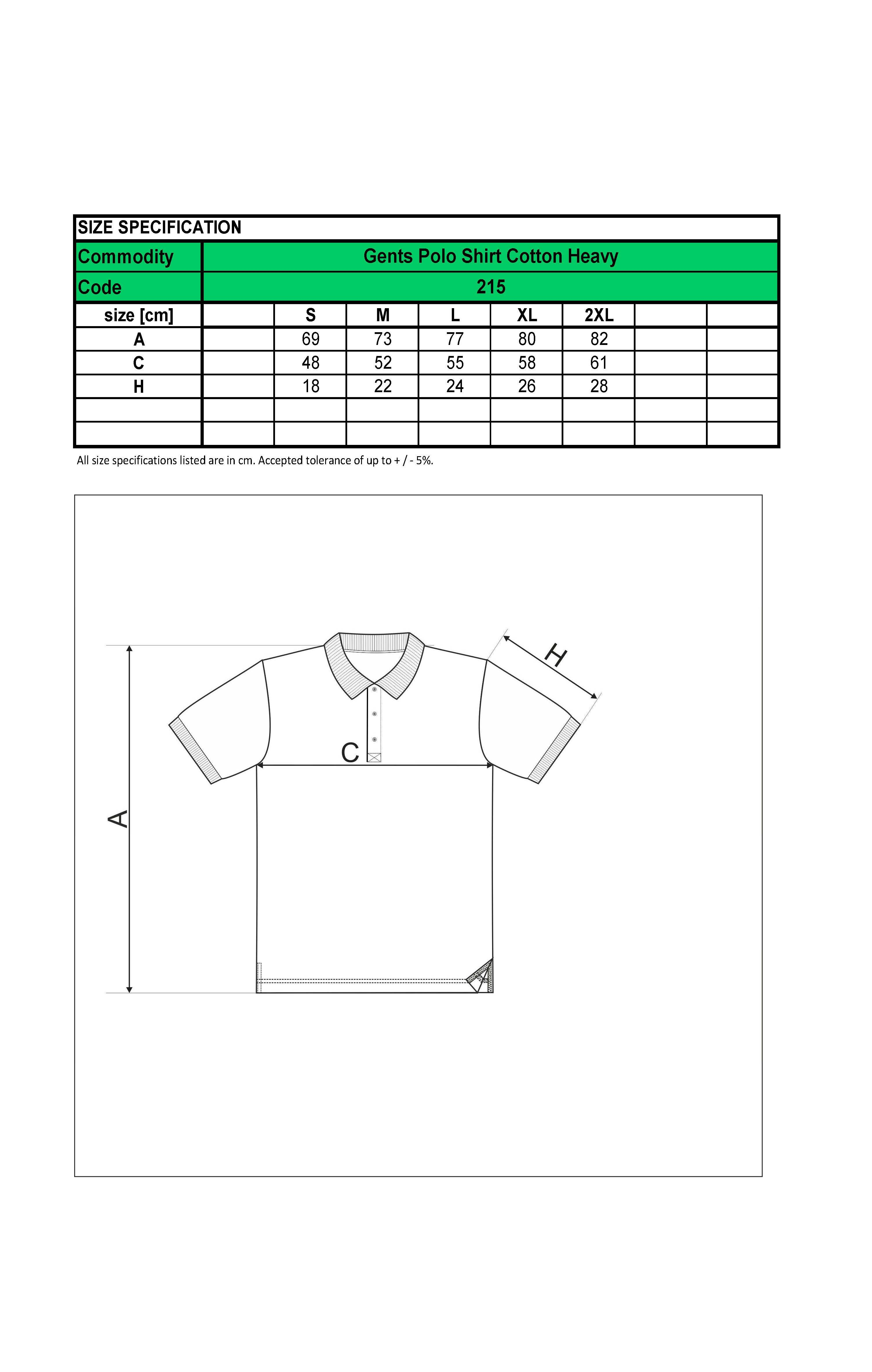 Custom Printed Promotional White Polo Shirts 215 size guide- www.ontimeprint.co.uk