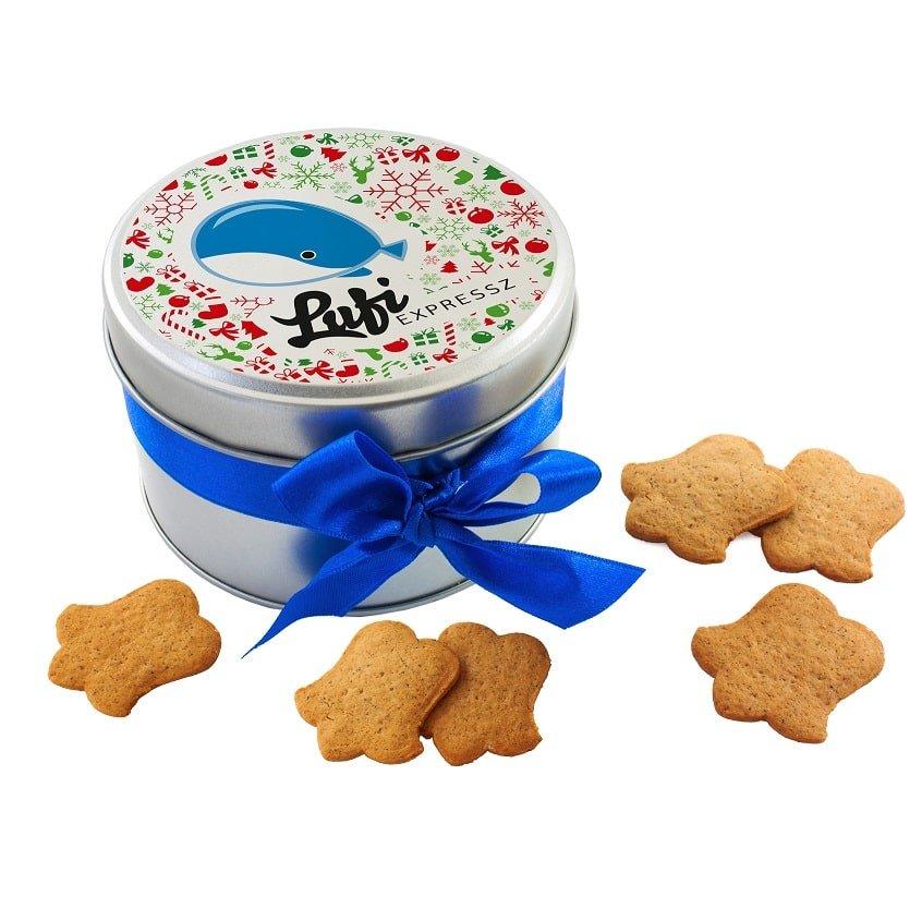 Custom printed Christmas ginger cookies in tin- www.ontimeprint.co.uk