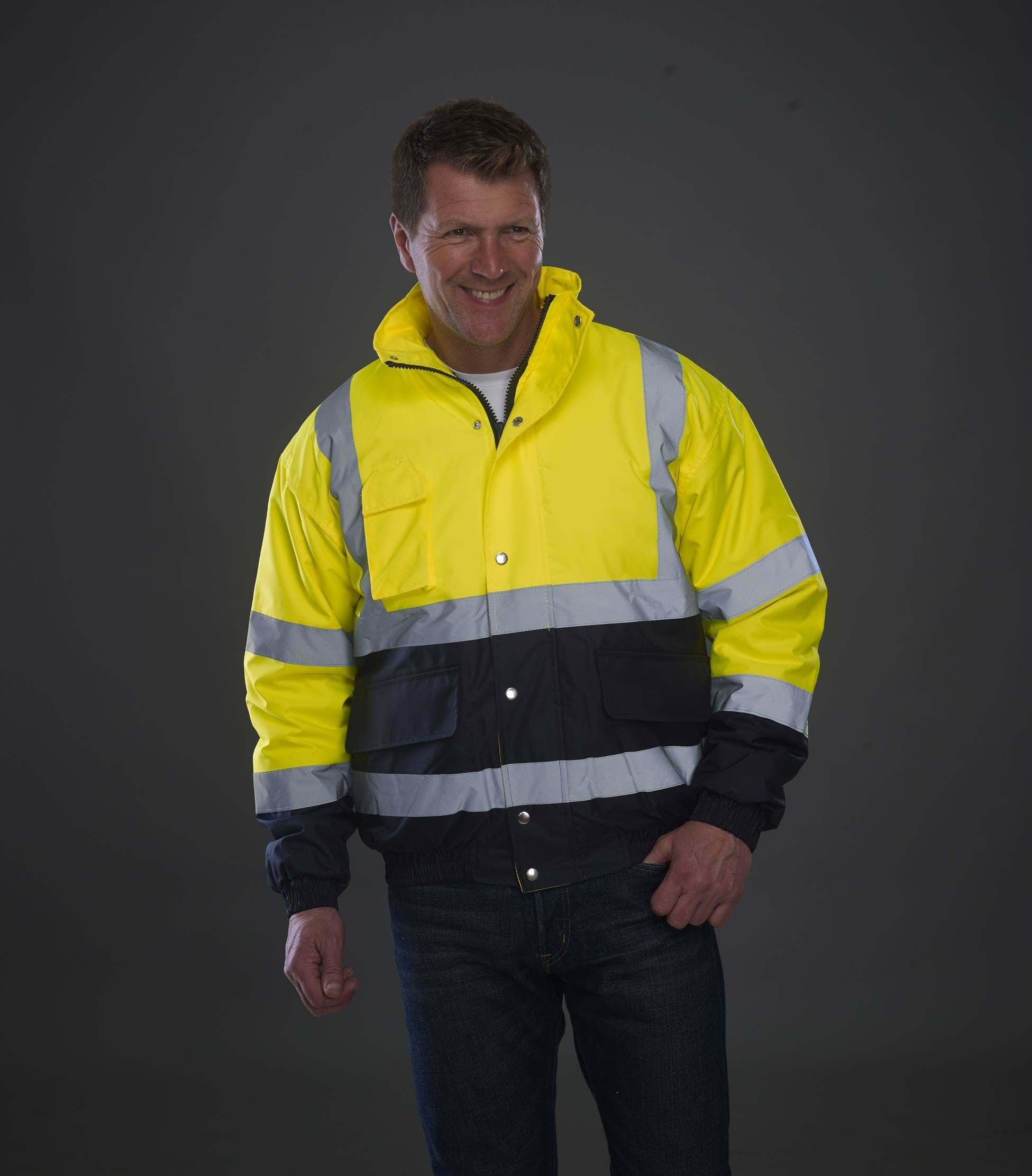 Embroidered Hi Vis two tone bomber work jacket, yellow navy. www.ontimeprint.co.uk