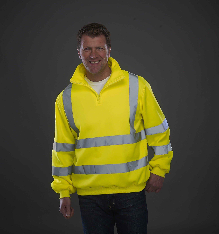 Custom Hi-Vis Sweatshirt 1/4 Zip with logo, www.ontimeprint.co.uk