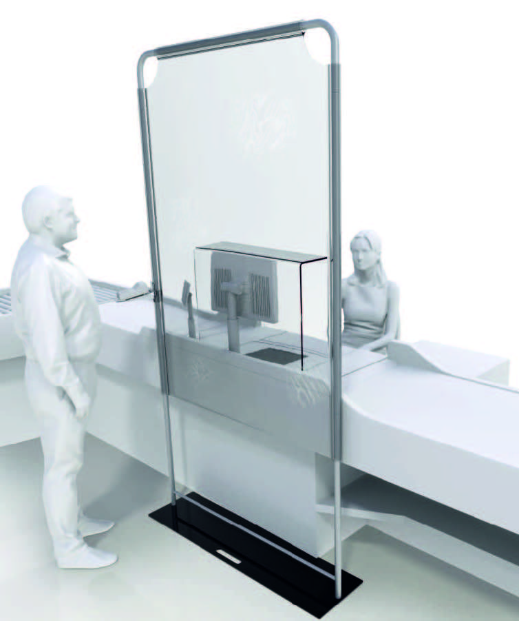 screen to separate checkout staff cashiers,  free-standing barriers wall, coranovirus
